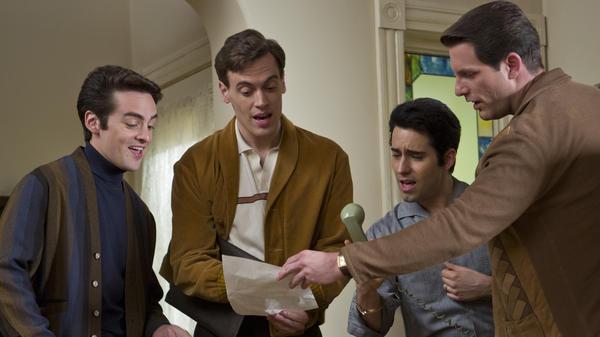 Tommy Devito (Vincent Piazza), Bob Gaudio (Erich Bergen), Frankie Valli (John Lloyd Young) and Nick Massi (Michael Lomenda) make up the scrappy Four Seasons quartet in <em>Jersey Boys</em>.