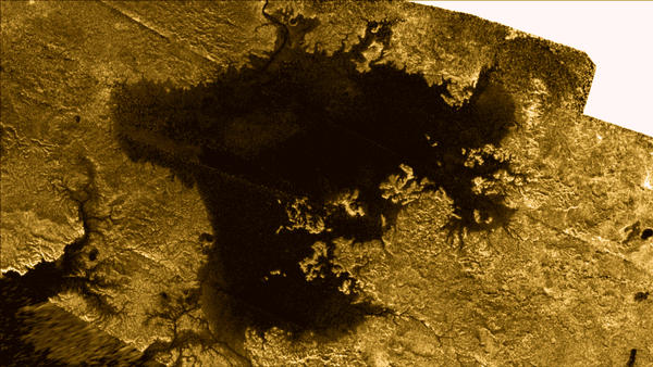 The Cassini spacecraft has been taking radar images of Titan for years now. This modified image of the Ligeia Mare, a sea on Titan's north pole, is a composite of some of those.