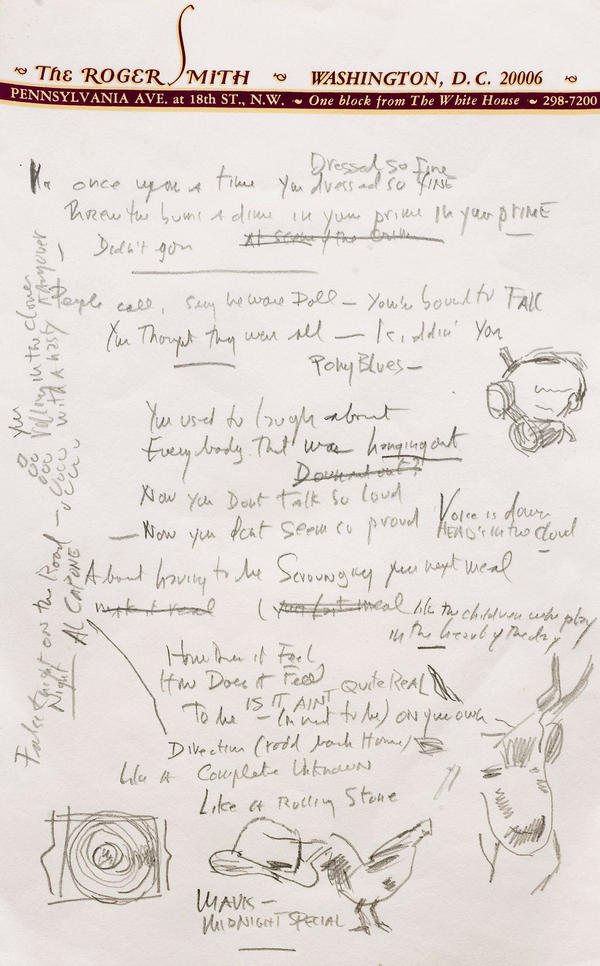 "A photo provided by Sotheby's shows a page from a working draft of Bob Dylan's ""Like a Rolling Stone."" The draft sold for more than $2 million."