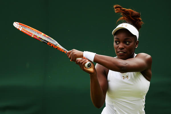 Sloane Stephens of the United States in action during her Ladies' Singles first round match against Maria Kirilenko of Russia on day one of the Wimbledon Lawn Tennis Championships at the All England Lawn Tennis and Croquet Club at Wimbledon on June 23, 2014 in London, England.  (Steve Bardens/Getty Images)