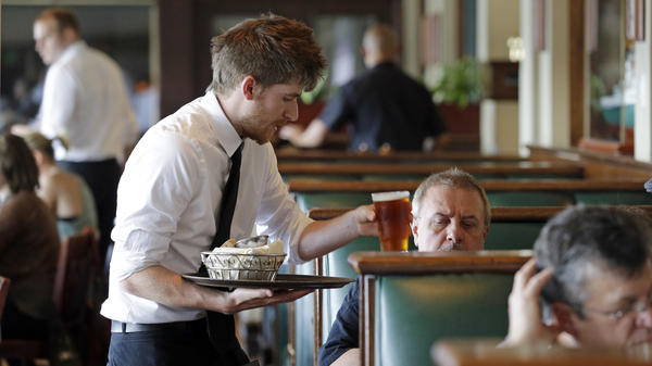 States may have their own higher wage laws, but the federal minimum wage for tipped workers is $2.13 an hour.