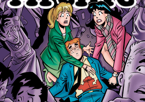 "This photo released by Archie Comics shows ""Life with Archie."" Archie Comics says the famous comic book character will heroically sacrifice himself while saving the life of a friend in a July 2014 installment of ""Life with Archie."" The comic book series tells the story of grown-up renditions of Archie and his Riverdale pals. (Archie Comics/AP Photo)"