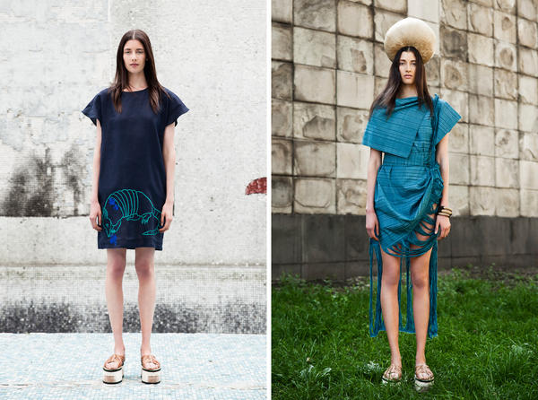 (Left) Mayan artisans from the Yucatan region hand-embroidered an armadillo onto this linen dress from Carla Fernández's Mayalands collection. (Right) This Fernandez dress is a traditional rebozo shape which honors the square root design of ancient patterns.