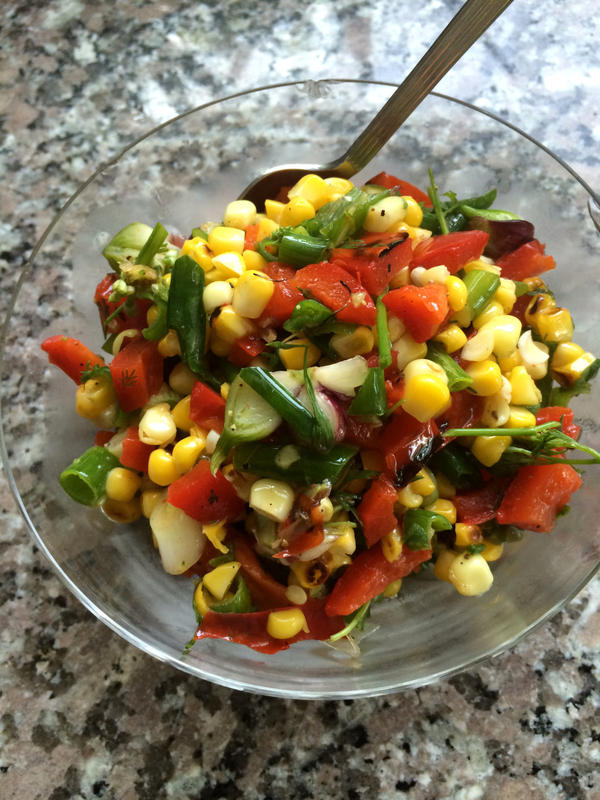 """""""Grilled Corn Relish"""" made by Kathy. (Kathy Gunst/Here & Now)"""