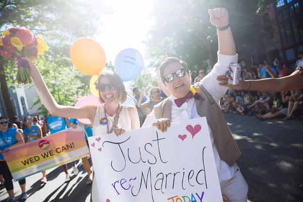 Nicole (left) and Rose Gerstle renew their vows during the 2014 Capital Pride Parade.