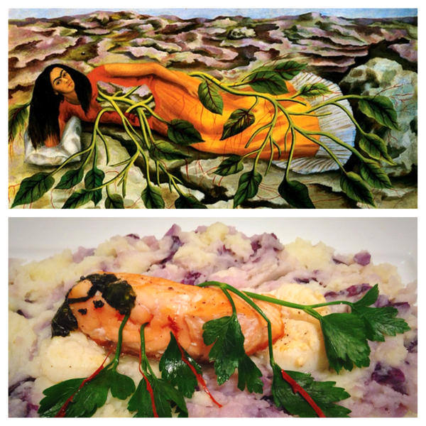 Frido Kahlo self-portrait <em>Roots</em> and Just Eat Life's rendition of the painting submitted through Twitter.