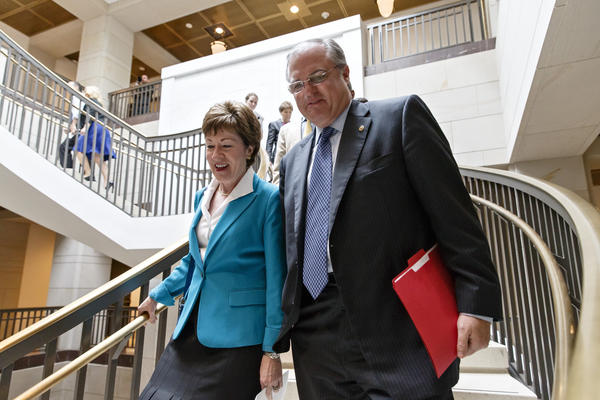 Sen. Mark Pryor, D-Ark., walks with Sen. Susan Collins, R-Maine, on Capitol Hill on June 4.