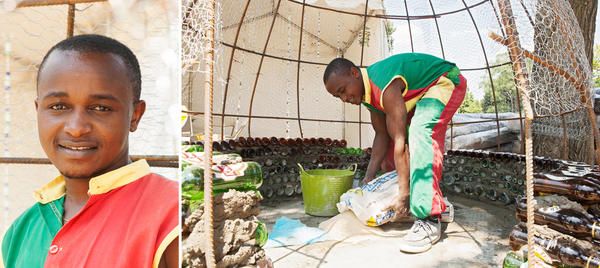 Isaac Kibe can build an igloo out of beer bottles.