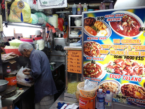<em>Sup tulang</em> on the menu at the Deen Tulang Specialist stall in the Golden Mile Food Centre in Singapore.