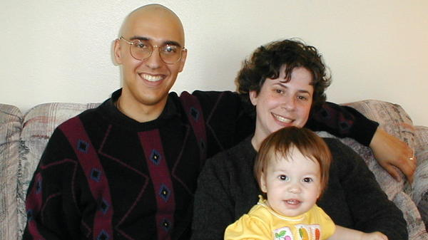 Brian Zikmund-Fisher with his wife, Naomi, and daughter, Eve, in 1999, after he had a bone marrow transplant. He says he made the decision to have the treatment based on factors he couldn't quantify.