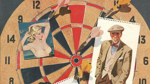 """In this clip from a 1951 cover of <em>Esquire</em>, two of the magazine's abiding loves share a dartboard: a scantily clad woman and a sharply dressed man. <a href=""""#gallery"""">Head here to see the full cover, and many others, plucked from the magazine's archives.</a>"""