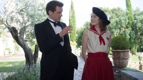 Colin Firth plays Stanley Crawford, a stage magician who sets out to debunk American mystic Sophie Baker (Emma Stone), in Woody Allen's <em>Magic in the Moonlight.</em>