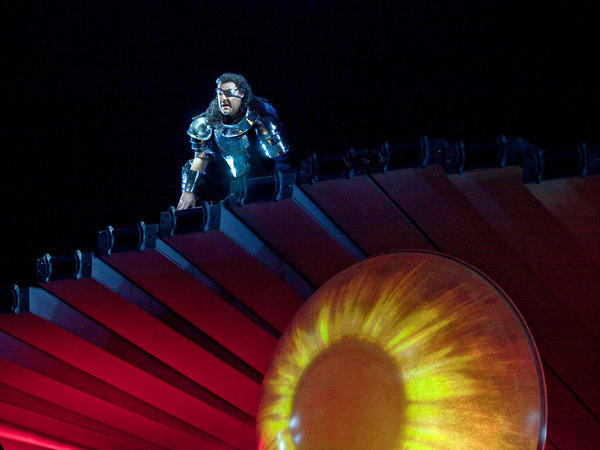 Bryn Terfel as Wotan in the Met's production of Wagner's <em>Ring</em> cycle, one of the productions that has been criticized by some as too costly.