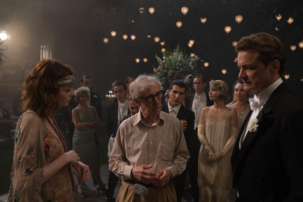 """Woody Allen directs --€"""" that's right, <em>directs</em> --€"""" Colin Firth and Emma Stone in <em>Magic in the Moonlight.</em>"""