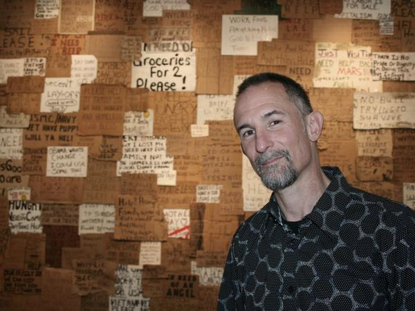 Artist Willie Baronet has been collecting signs from the homeless since 1993.