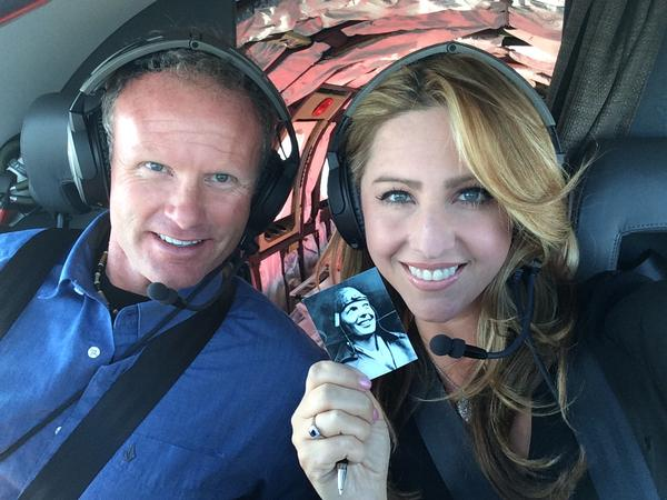 Amelia Rose Earhart and Shane Jordan are pictured in the cockpit with a photo of Amelia Earhart. (Courtesy Amelia Rose Earhart)