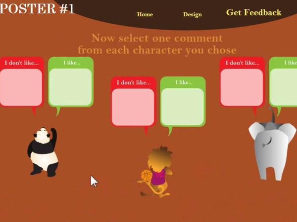 A screenshot from the Posterlet game: choosing negative or positive feedback.
