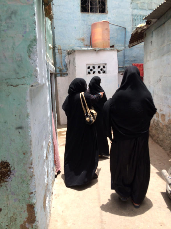 "Fatima Noor (right) says she's ""scared"" of attacks by the Taliban. But they don't keep her and her colleagues from going door to door to give children basic health services in Karachi, Pakistan."