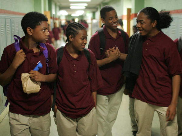 Actors (from left) Jermaine Crawford, Maestro Harrell, Tristan Wilds and Julito McCullum portray students in the Baltimore public school system in <em>The Wire.</em>