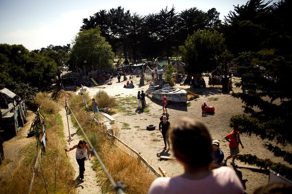 An overview of the Berkeley Adventure Playground, where children and their parents can paint, hammer, saw and run free.