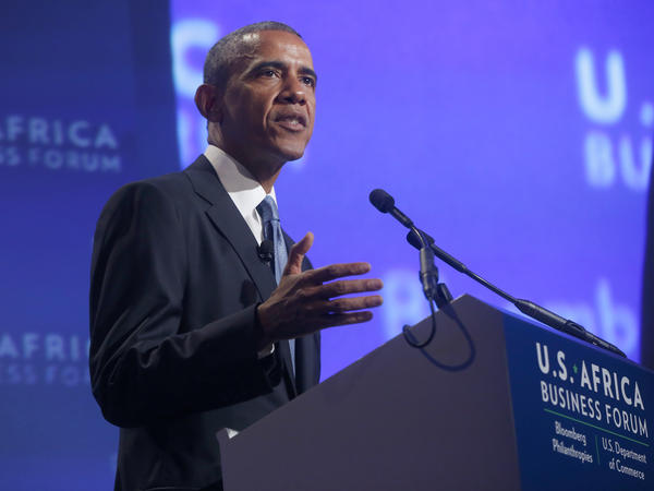 "President Obama speaks Tuesday at the U.S.-Africa Business Forum in Washington, D.C. ""I want Africans buying more American products,"" he said."