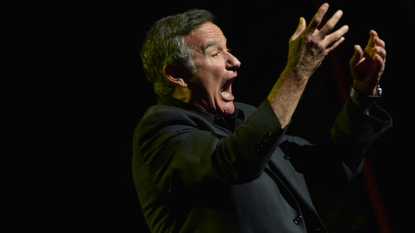 Robin Williams performs during the Sixth Annual Stand Up for Heroes charity event at the Beacon Theatre in New York in 2012.