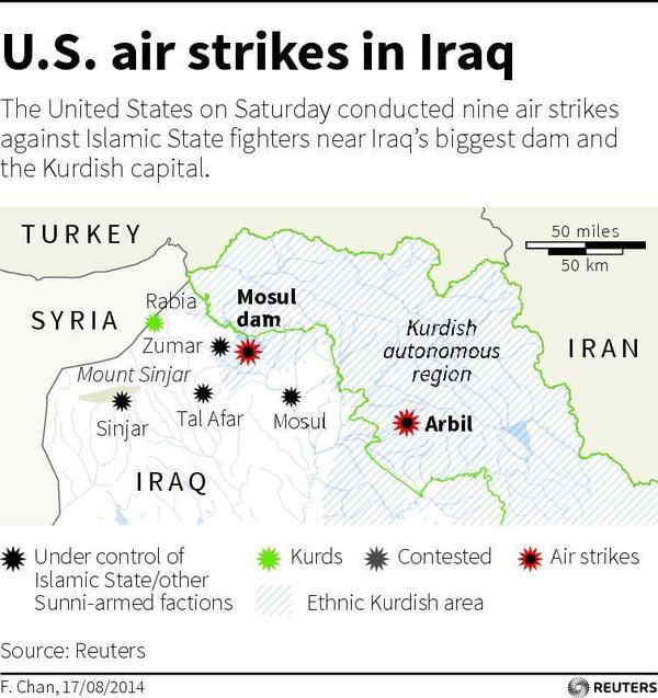 """Map of northern Iraq locating Mosul dam and the Kurdish capital Arbil (also spelled """"Irbil""""), where the U.S. carried out airstrikes targeting Islamic State fighters on Saturday."""