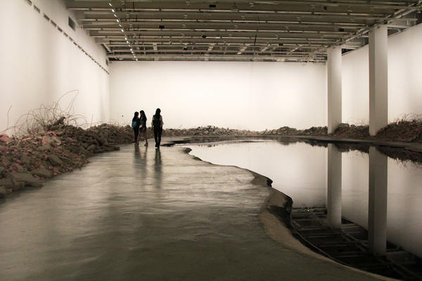 Silent Ink features a waterfall of ink plunging into a 5,300-gallon lake excavated from the museum's floor. It's hard to view the installation for very long, because the smell of the ink becomes overpowering.