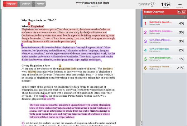 Screen shot from a Turnitin report