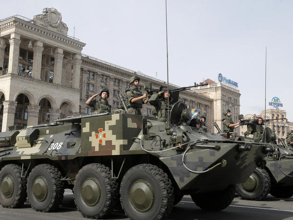 Ukrainian military vehicles pass down Kiev's main street during a military parade to mark the 23rd anniversary of Ukraine's Independence from Russia, on Sunday.