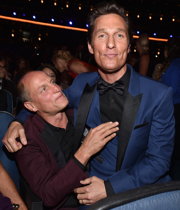 Woody Harrelson (left) and Matthew McConaughey of <em>True Detective</em>, a crime thriller with 12 nominations.