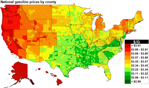 A graphic produced by Gasbuddy.com shows regional variation of gas prices.