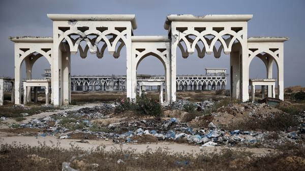 The destroyed and deserted main gate of the Gaza international airport in the southern city of Rafah.