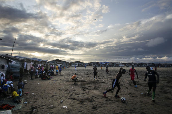 The beach is a perfect playing field for soccer lovers in West Point.