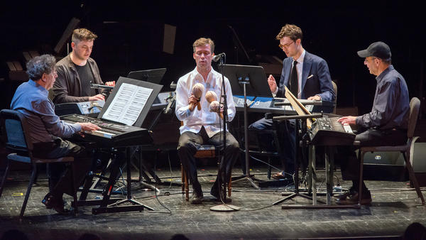 <em>Four Organs</em> by Steve Reich was performed Tuesday at the Brooklyn Academy of Music as part of the 50th anniversary of the Nonesuch label (from left: Philip Glass, Nico Muhly, David Cossin, Timo Andres and Steve Reich).