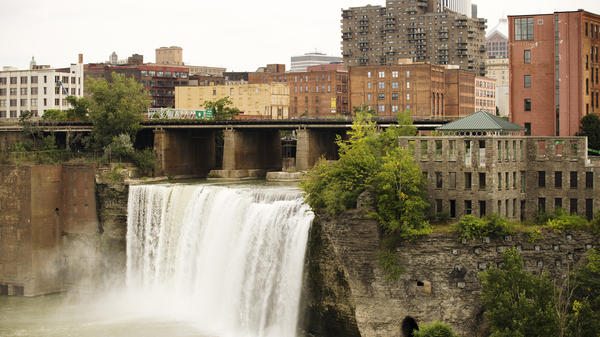The Genesee River's High Falls are at the center of Rochester's history of manufacturing. Mills, and later Kodak, sprang up around it.