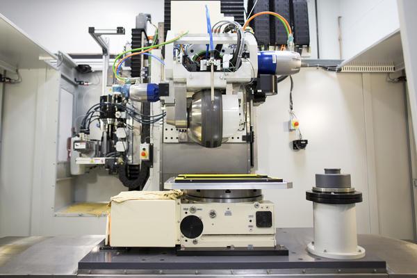 A magnetorheological finishing machine, used to finish high-quality optics.