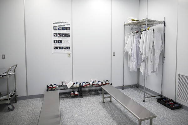 The preparation area for a clean room. Employees change into suits to control contamination.