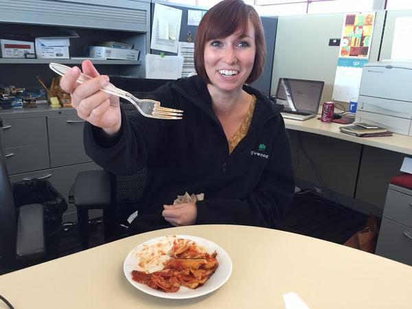 Pizza Cake broke Kelsie's fork. Unfortunately, the NPR Internship Program gives one plastic fork to each participant, to last the entirety of her internship.