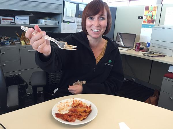 Pizza Cake broke Kelsie's fork. Unfortunately, the NPR Internship Program gives one plastic fork to each participant, to last the entirety of her internship.