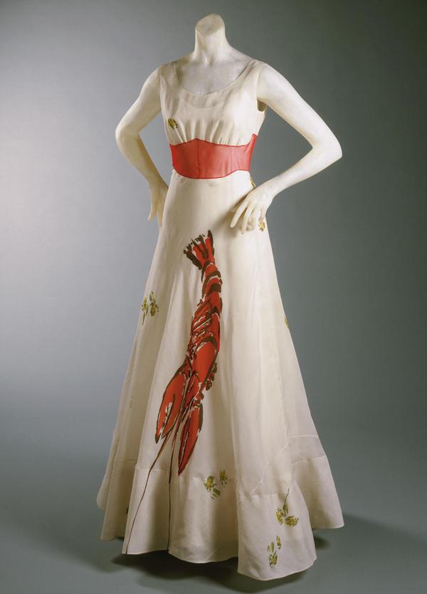 Lobster dinner dress, designed by Elsa Schiaparelli in collaboration with Salvador Dalí, 1937.