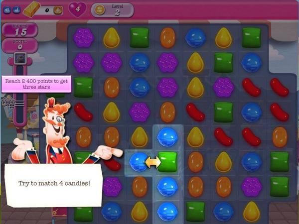 Screen shot of the mobile game Candy Crush Saga.
