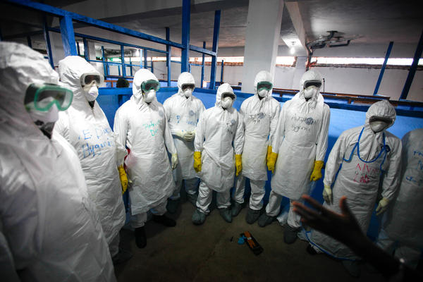 Trainees suit up for their final day of training in Monrovia, Liberia. Sixty people were trained the first week.