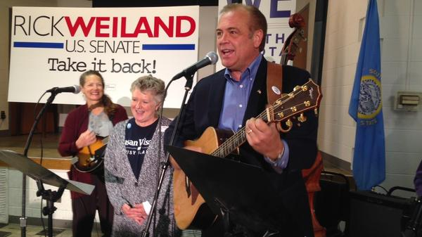 """Democratic candidate Rick Weiland, a businessman, plays at a union hall in Sioux Falls, S.D. """"We've tried to make this campaign fun,"""" he told the crowd. """"We're enjoying it. I hope you are."""""""