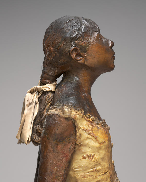 Degas used a real bodice, tutu, ribbon and even real hair in his sculpture.