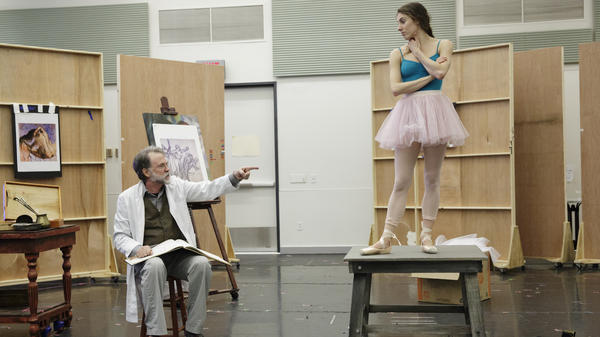 Tony Award-winning actor Boyd Gaines plays Edgar Degas opposite the New York City Ballet's Tiler Peck, as Marie Van Goethem, during a Manhattan rehearsal.