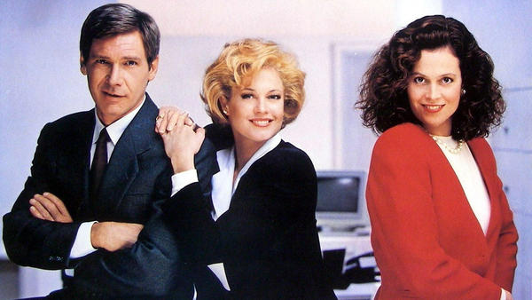 A publicity still from the movie <em>Working Girl,</em> which prominently featured the beloved power suit.