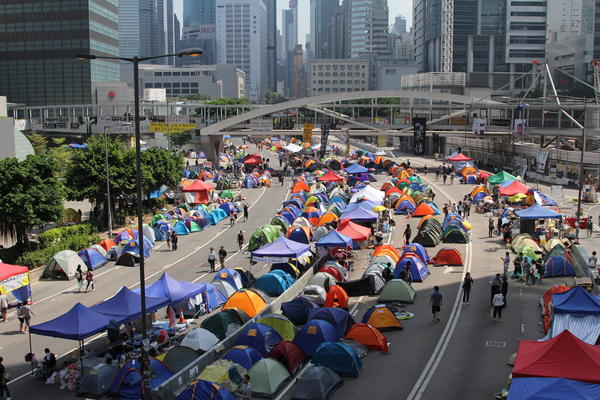 The main protest camp of about 300 tents blocks Hong Kong's Harcourt Road, a major highway on the island.