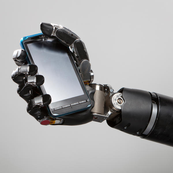 Johns Hopkins' MPL prosthetic arm and hand can grip up to 70 pounds.