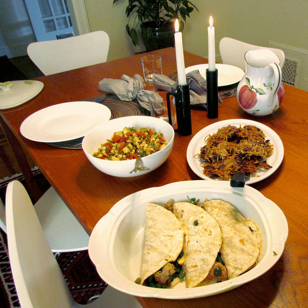 The final product including Thai ground turkey tacos and Mexican green pea pancakes with pea topping.